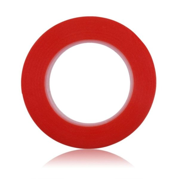 RED Strong Acrylic Transparent Adhesive - Double Sided Heat Resistant - (Polyester Tape) - 45 Meters in Length - 08mm Width