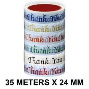 Thank you Printed Tape - 24mm / 01″ Width – 35 Meters Length