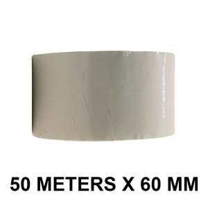 """White Color Tape - 60mm / 2.5"""" Width - 50 Meters in Length"""