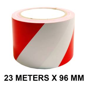 """Red And White Floor Marking Tape - 96mm / 04"""" Width"""