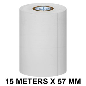 White Thermal Paper POS Roll - 57mm / 2 inches Width x 15 Meters in Length for Printing Receipts - Billing Machines / Register - 55 GSM Thickness - Black colour printing