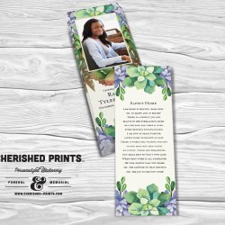 Memorial & Funeral Bookmarks: Laminated Photo Keepsakes Memorial Cards