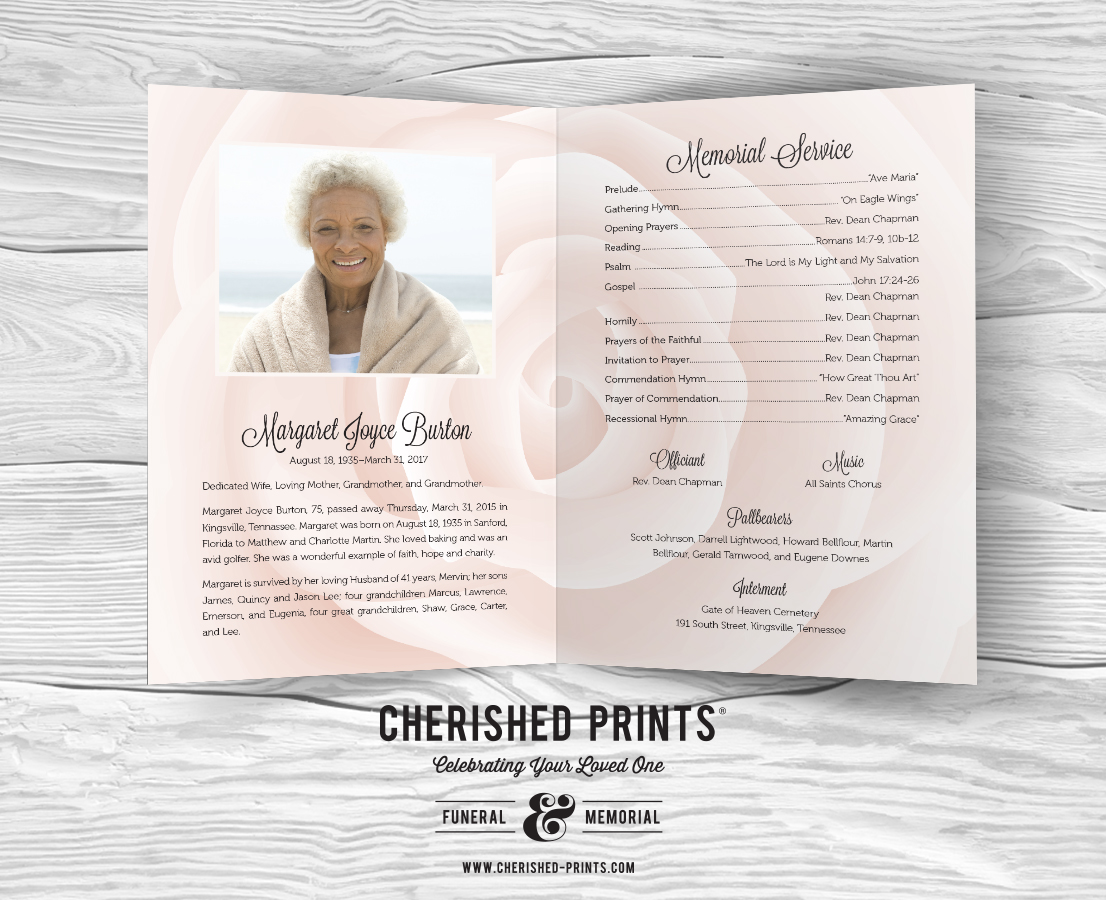 White Rose Celebration Of Life Program For Funerals And Memorials Pink Rose  Modern Funeral Program Inside Program Sample Order Of Service And  Obituaryjpg ...  Funeral Programs Examples