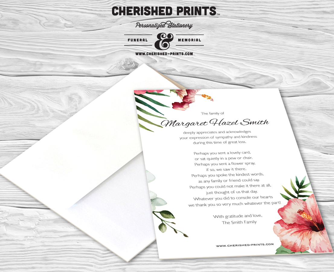 Funeral words for cards it can be hard to decide what to write in a funeral words for cards tropical flowers thank you cards sympathy hawaiian cherished 37 izmirmasajfo