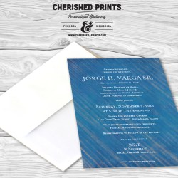 Modern Blue Stripped Texture Funeral Announcements or Invitation for Memorials