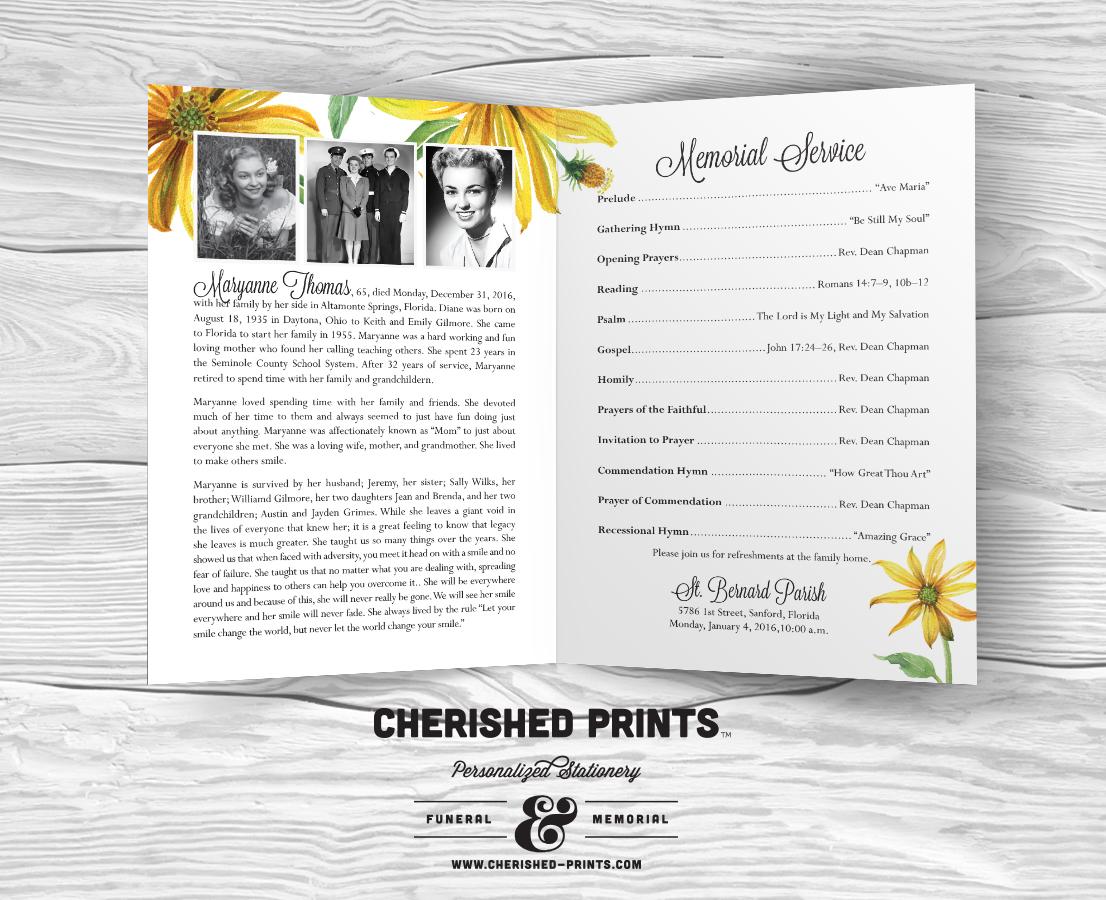 Daisies Modern funeral program, celebration of life program, order ...