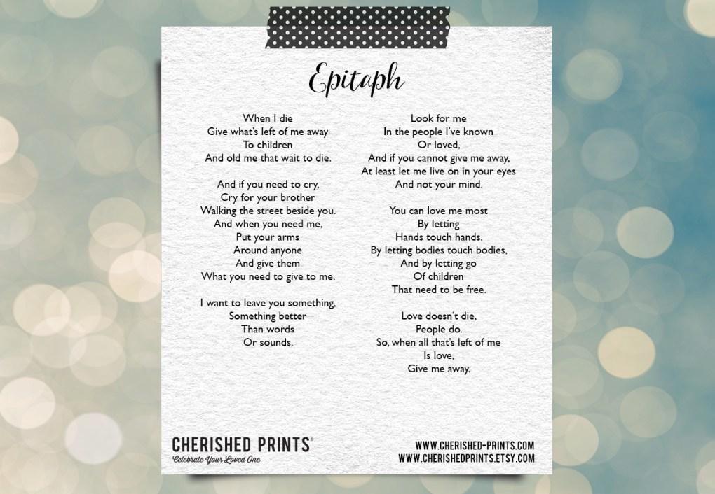 Epitaph by Merrit Malloy – Poem
