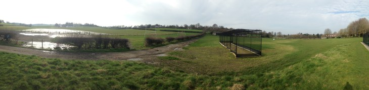 The lake above the cricket field has stopped feeding the stream across the field