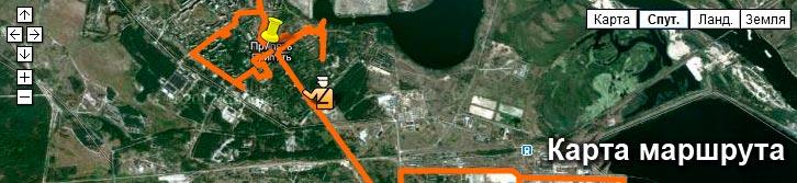 Примерная карта маршрута экскурсий Чернобыль-ТУР