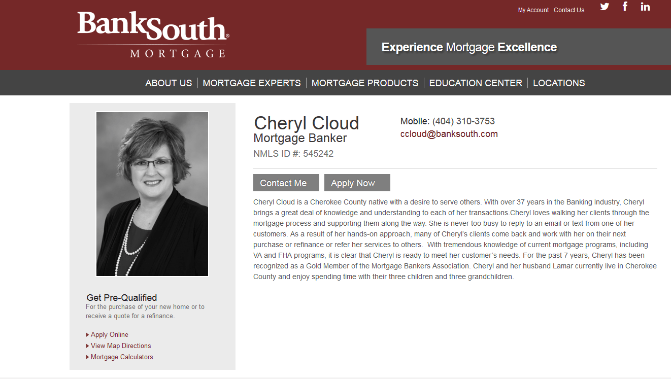 BankSouth Mortgage, Cheryl Cloud