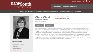 BankSouth Mortgage, Cheryl Cloud