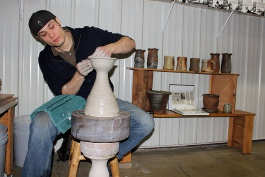 Joel Cherrico Stoneware Hump Throwing, Grand Opening Party at Up Cafe1