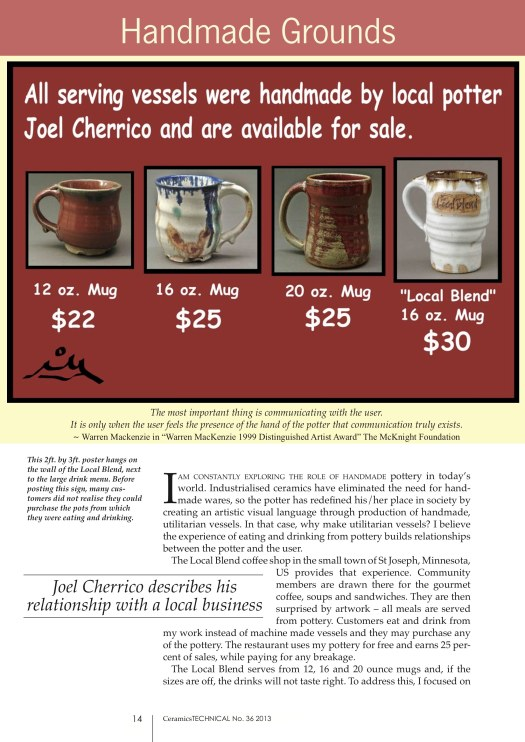 Page 1, Joel Cherrico Pottery, Ceramics Art and Perception, Technical, Handmade Grounds at the Local Blend, 2013