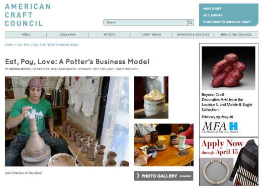 American Craft Council, Joel Cherrico Pottery, Eat Pay Love, A Potters Business Model