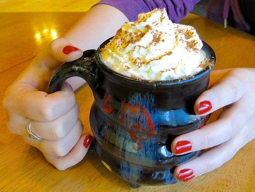 Cosmic Mug with Whipped Cream Coffee Drink and Hands and Red Nails, Cherrico Pottery