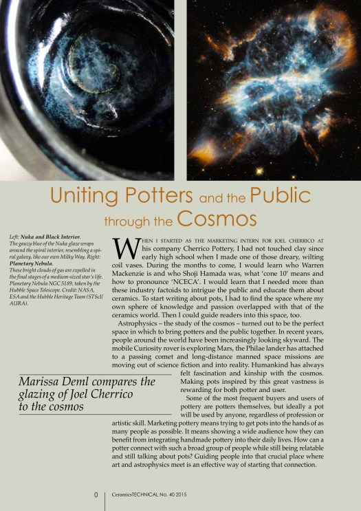 Uniting Potters and the Public through the Cosmos, Cherrico Pottery, Marissa Deml, Cosmic Mugs, Page 1