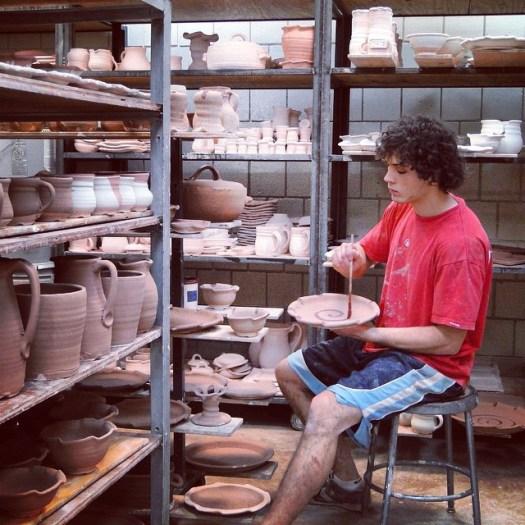 Pottery Glaze Brushing, Cherrico Pottery, 2010