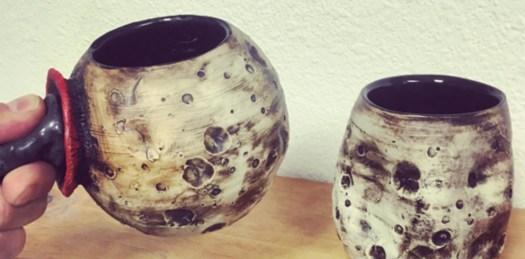Moon Mug and Asteroid Cup, Cherrico Pottery