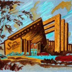 Slant Sands 12 x 18 Acrylic with prismacolor and glitter on panel (2003) by Cherry Capri