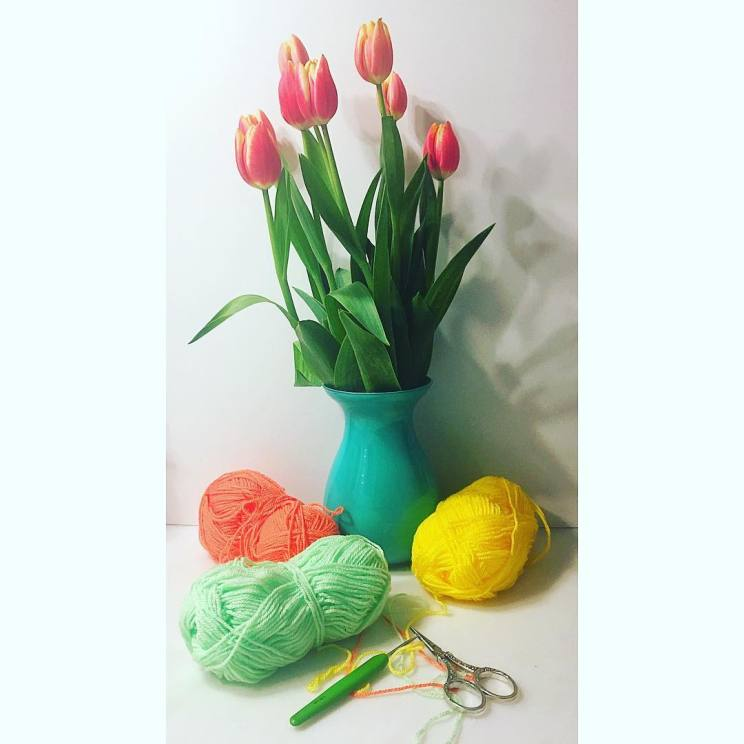 Yarn and tulips , any better way to smell like spring?