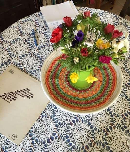 anemones on a crochet mandala :-)