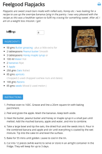 Flapjack website recipe example 3