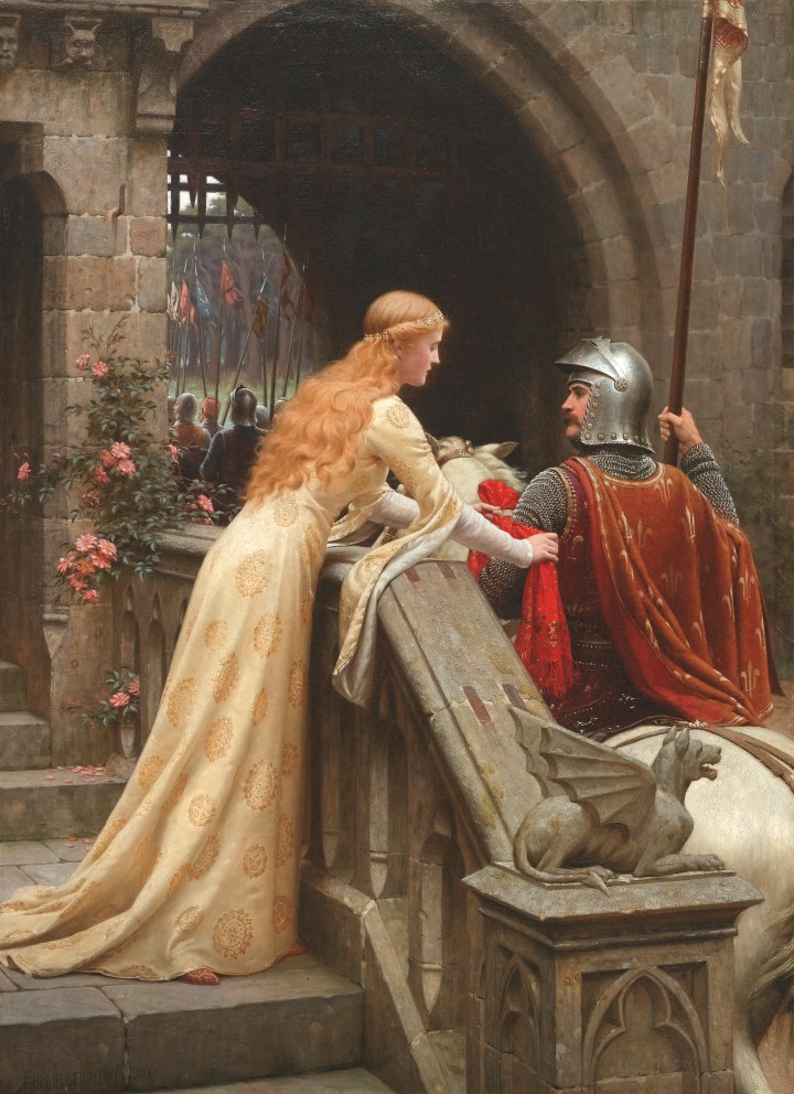 A medieval woman reaches out to a knight riding out of a castle in Leighton's famous painting.