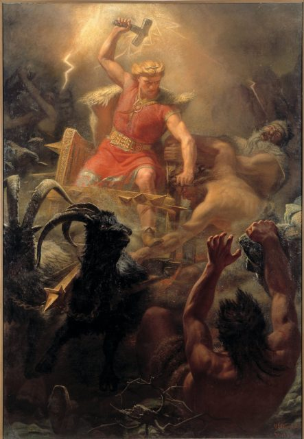 Thor stands upon a chariot, hammer raised and lightning flashing in the background, to strike down his enemies.