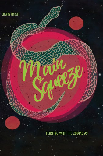 The cover for Main Squeeze shows a pink planet with two small moons being squeezed by an oversized green snake.