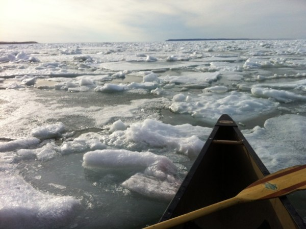 A futile attempt at finding some water to paddle in amongst the ice bergs in Sleeping Bear Bay.