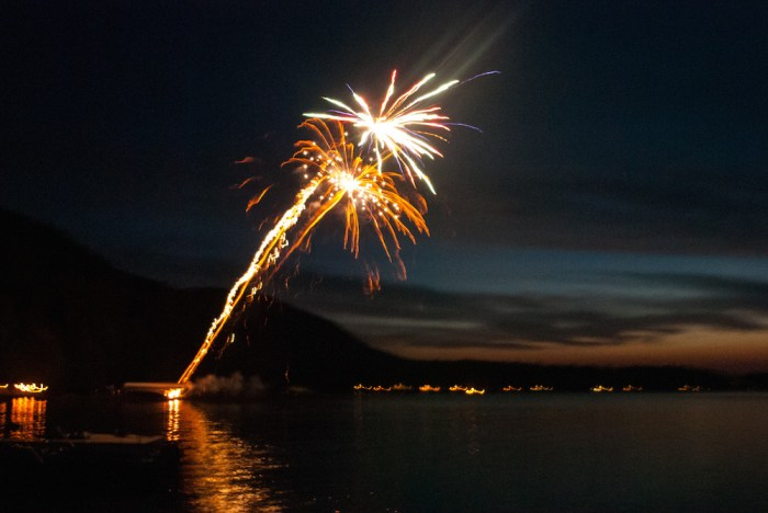 Fourth of July fireworks display over Glen Lake