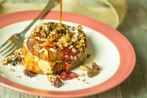 Cherry Peanut Butter-Stuffed French Toast