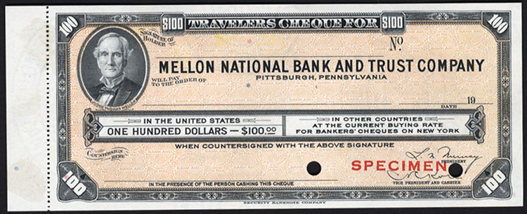 Travellers Cheques Bank Of America