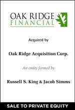 Cherry Tree Advises Oak Ridge Financial Services Group on its Sale to Private Investors