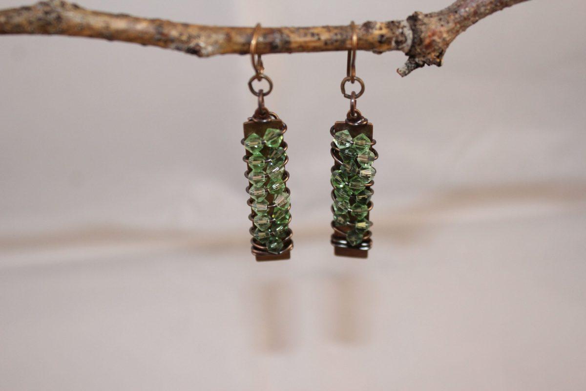 light green Swarovski Crystal rock candy Earrings