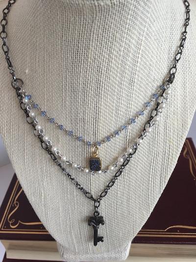 three strand blue druzy necklace