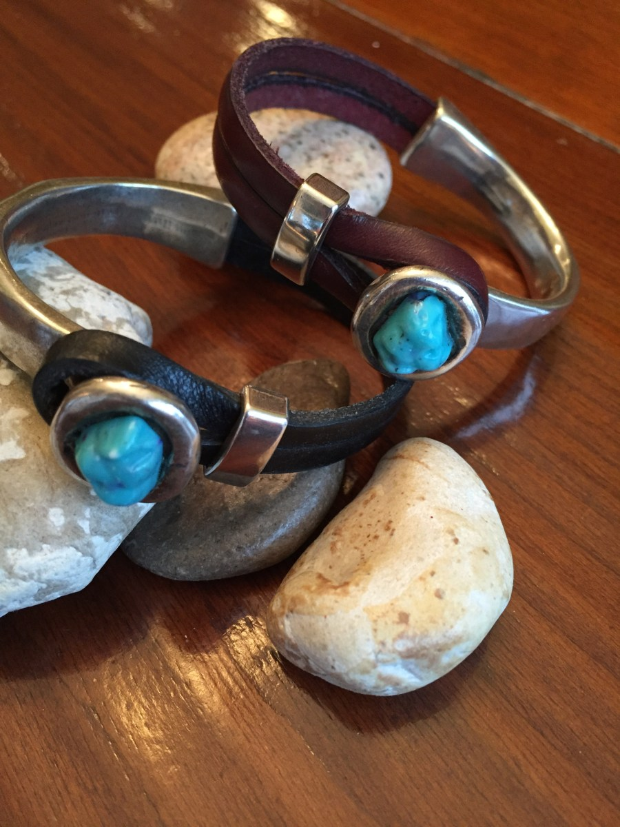 Silver Half Cuff Turquoise Button Leather Bracelet
