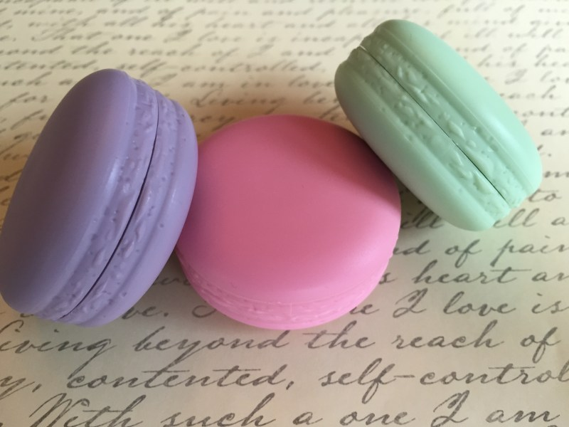 French macaron lip balm beauty shot