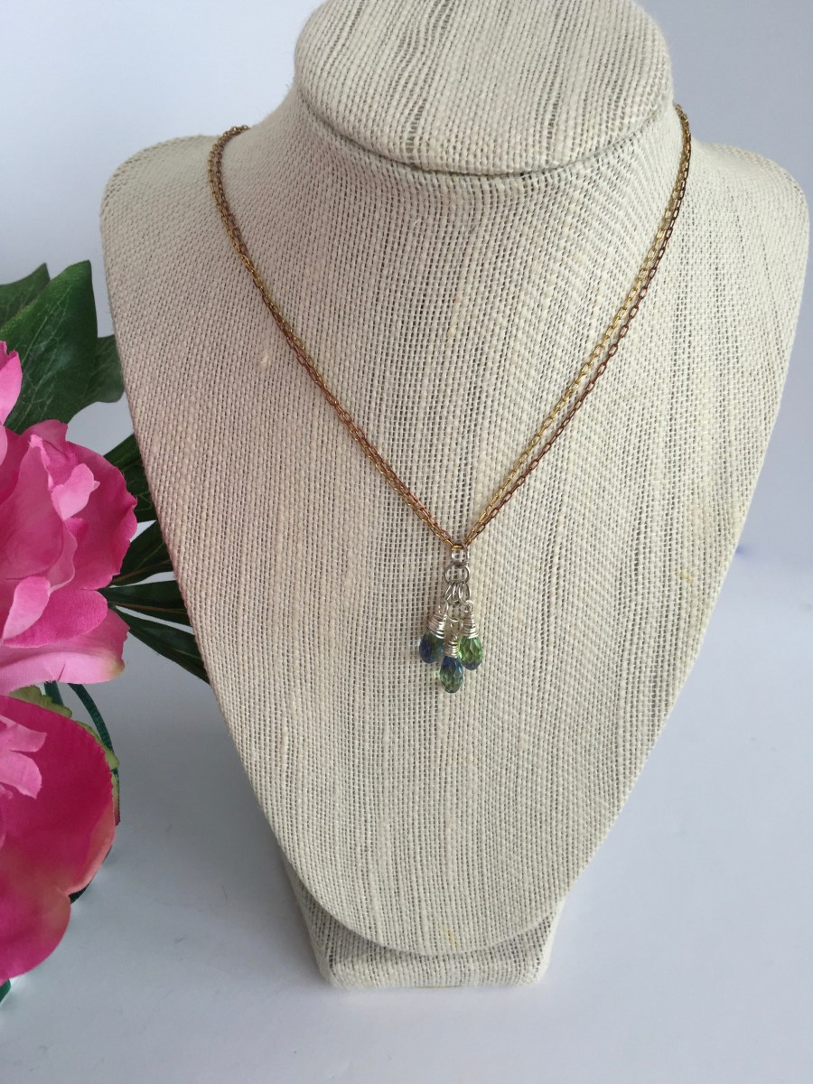 Swarovski Crystal Blue Green Lavender Blend Faceted Cluster Mixed Metal Necklace