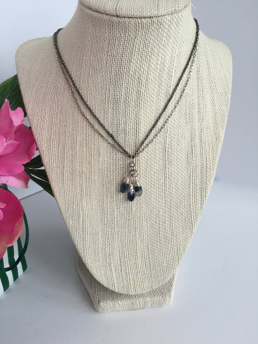 Swarovski Crystal Blend Montana Cluster Mixed Metal Necklace