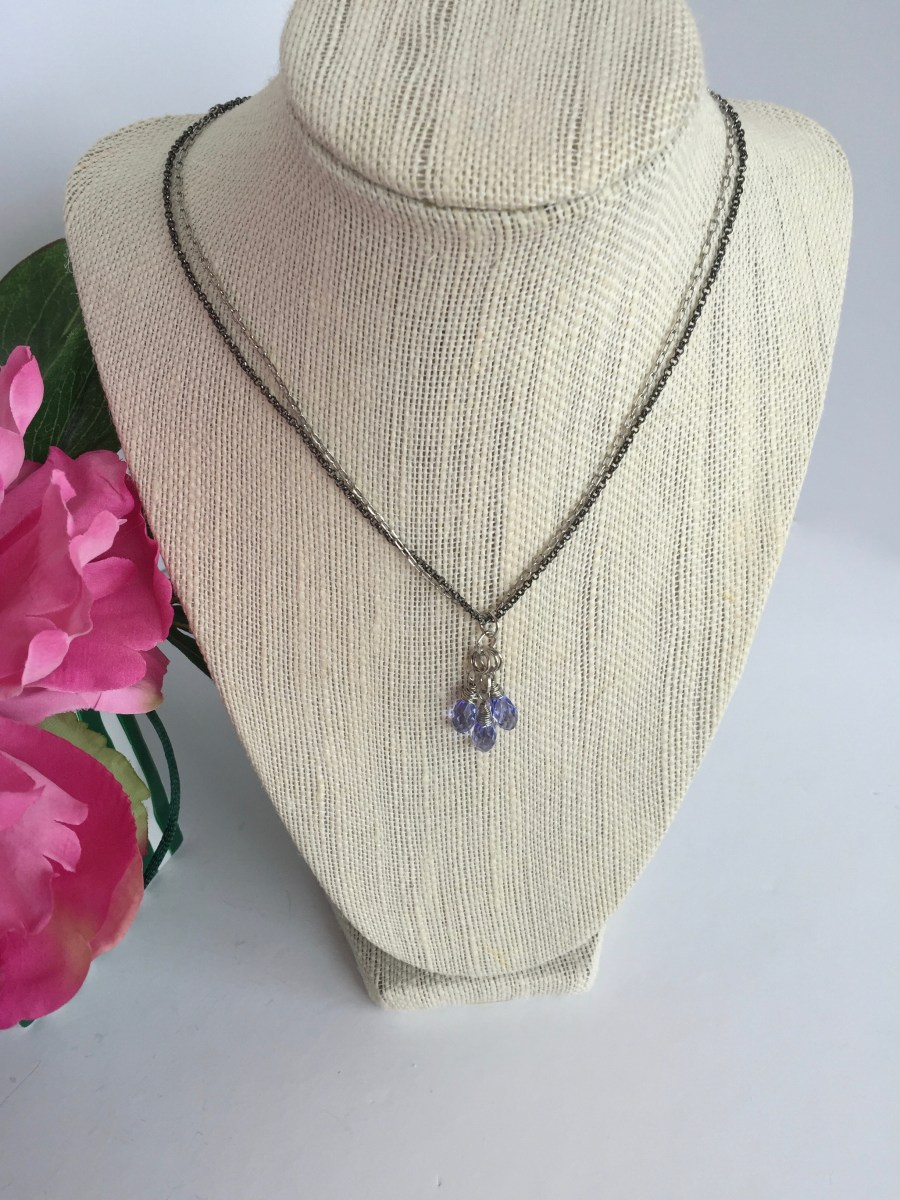 Swarovski Lavender Crystal Cluster Mixed Metal Necklace