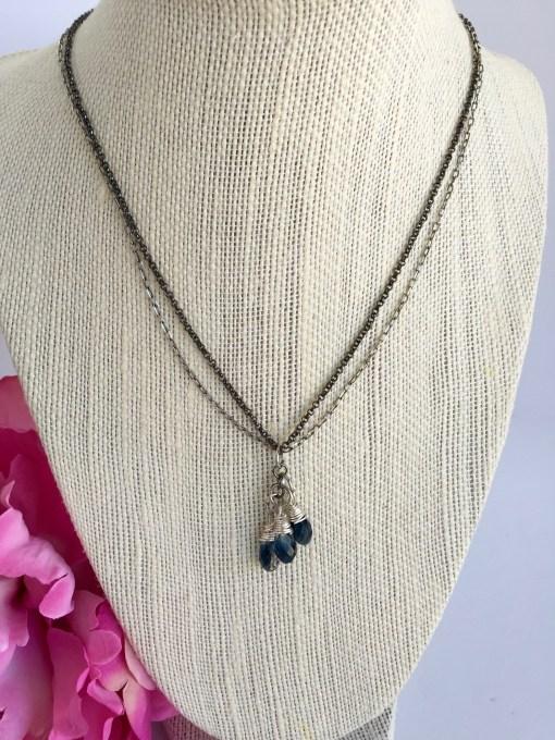 Swarovski Denim Blue Crystal Cluster Mixed Metal Silver Black Necklace