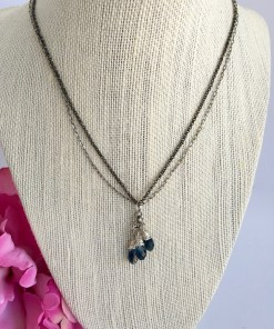 Swarovski Denim Blue Crystal Cluster Mixed Metal Silver Black Necklace