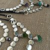 Rustic Smooth Coin Bead Crystal Pendant Necklace