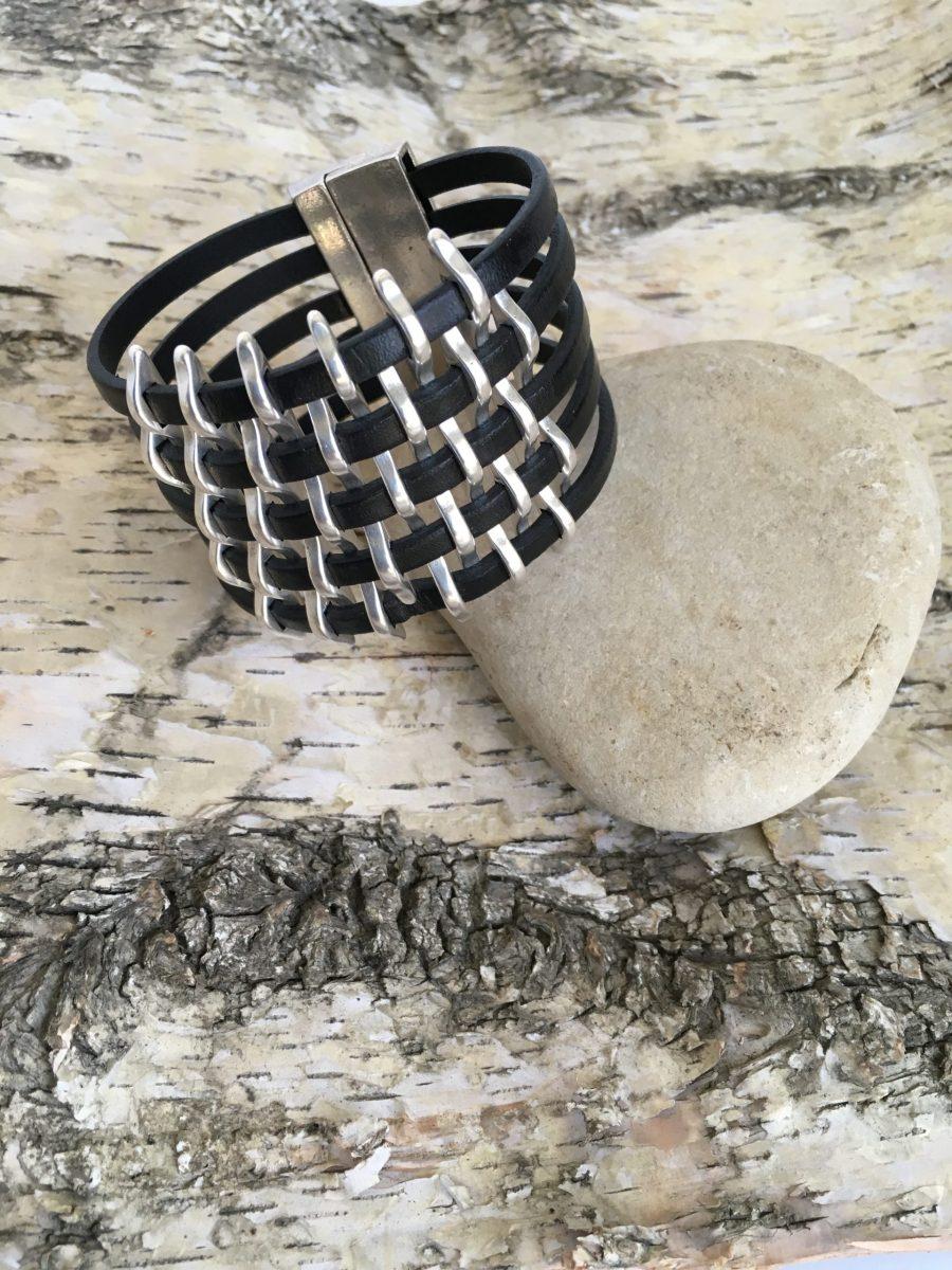Black Leather Wide Silver Basketweave Bracelet