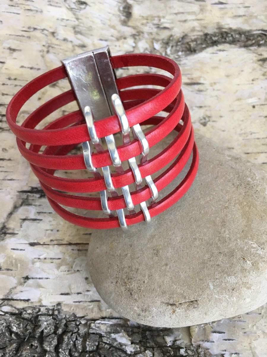 Wide Red Leather Silver Basketweave Cuff Bracelet