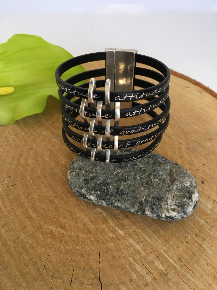 Gratitude Basketweave Black Leather Cuff Bracelet