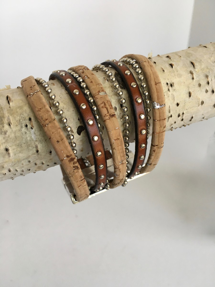 Natural Cork Silver Studded Brown Leather Wide Bracelet