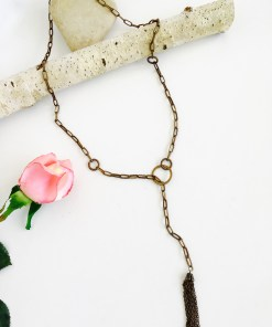 Long Natural Brass Tasseled Lariat Necklace