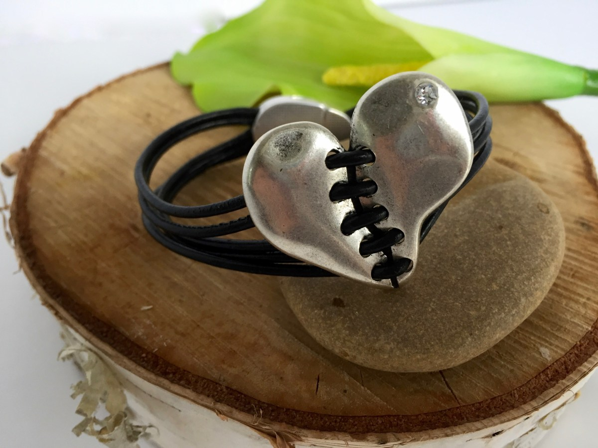 Healing Heart Multi-Strand Black Leather Magnetic Clasp Bracelet